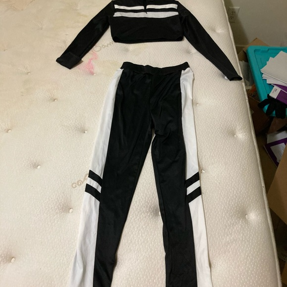 SHEIN black and white ladies sexy track suit